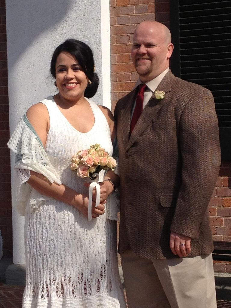Vestido de novia pejido a punto de media
