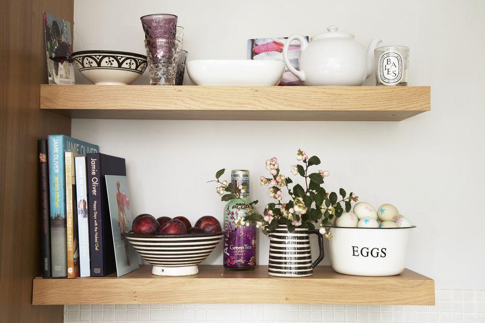 kitchen shelf with cookbooks
