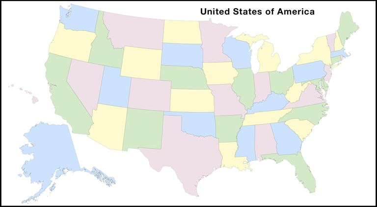 States and Capitals of the United States Labeled Map