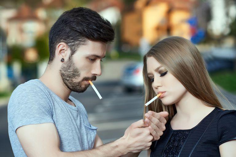 smoking cool teenagers outdoors