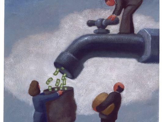 Money faucet illustration