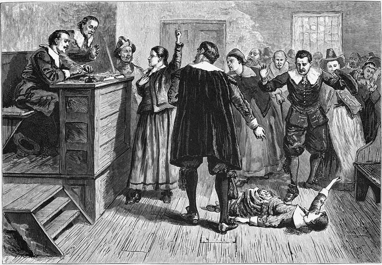 Witchcraft at Salem Village. Engraving by William A. Crafts, 1876.