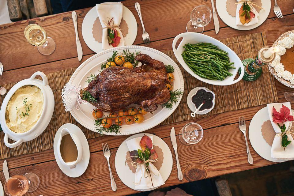 Thanksgiving dinner table overhead