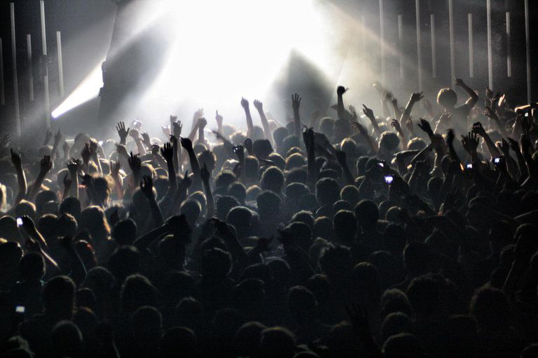 Large crowd at a concert with interesting details, such as people punching the air and waving their arms.