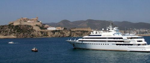 Lady Moura Yacht Sails Away from Ibiza in the Balearic Islands of Spain