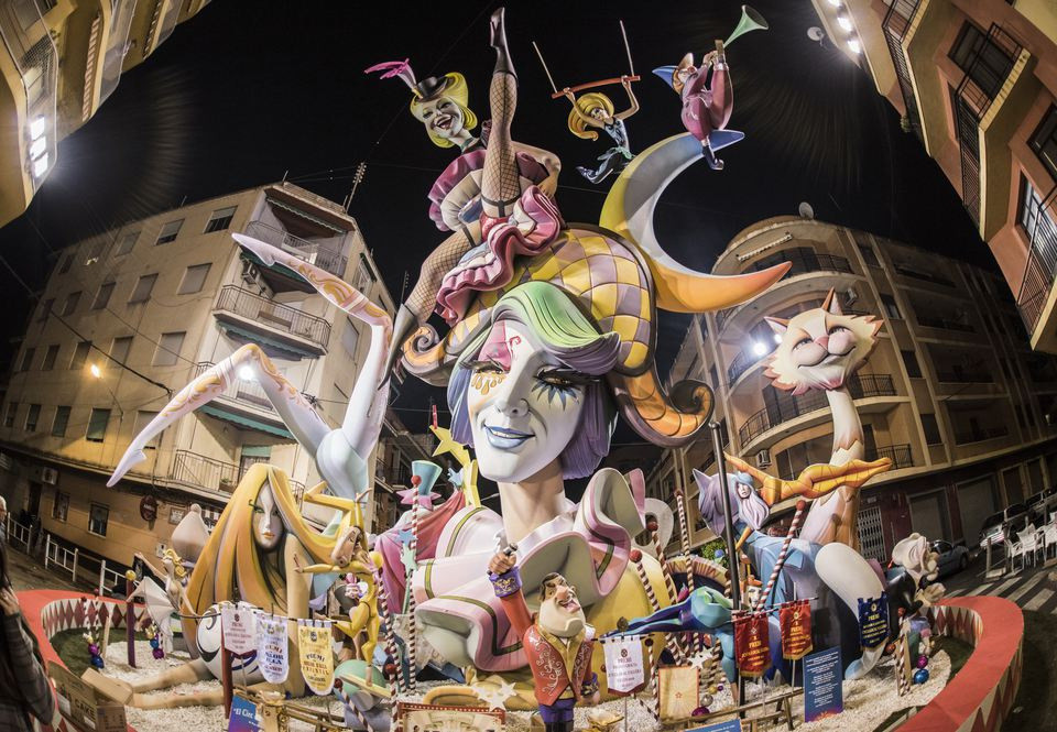Fallas sculptures display on the street during Fallas Festival in Valencia, Spain