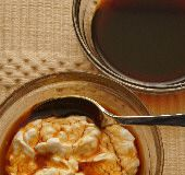 Greek Food Photos - Petimezi on Yogurt - Grape Molasses Syrup