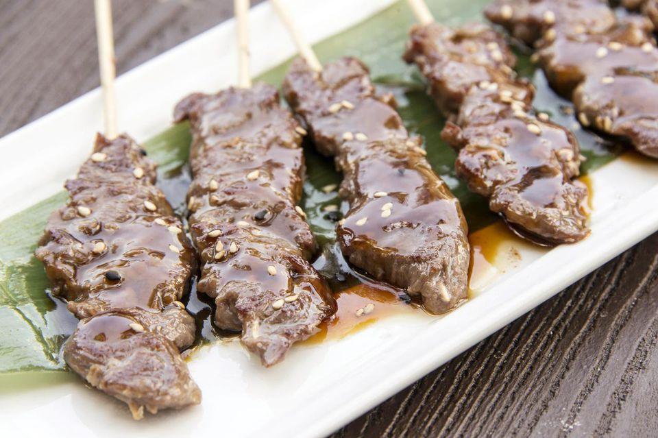 Marinated beef satay
