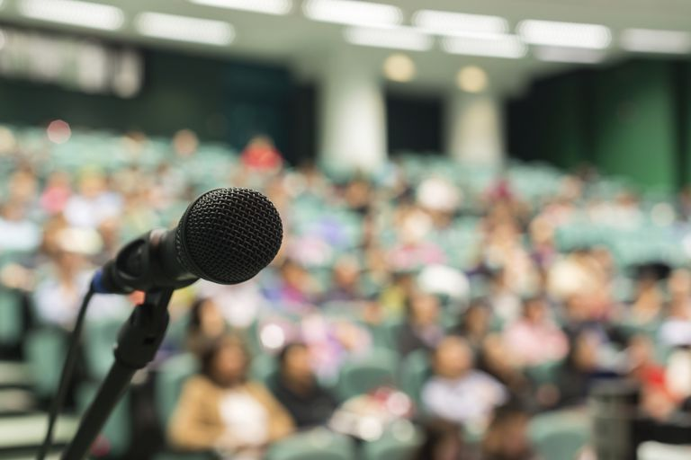 Microphone in front of lecture hall