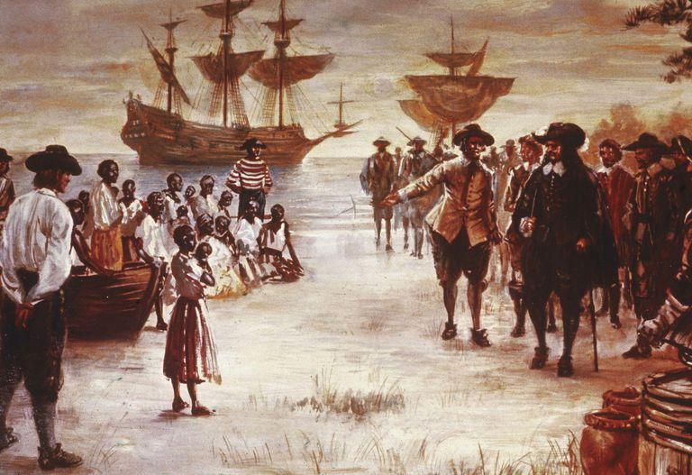 Engraving: Slave Ship Arrives in Virginia 1619