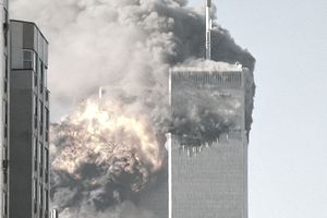 The World Trade Center towers being attacked on 9/11