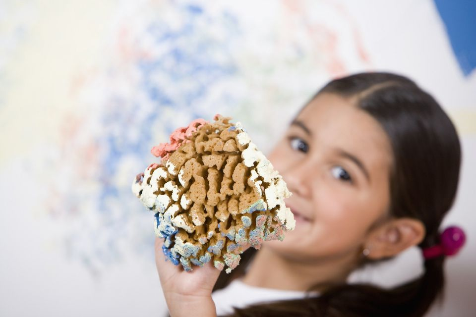 A picture of a child sponge painting