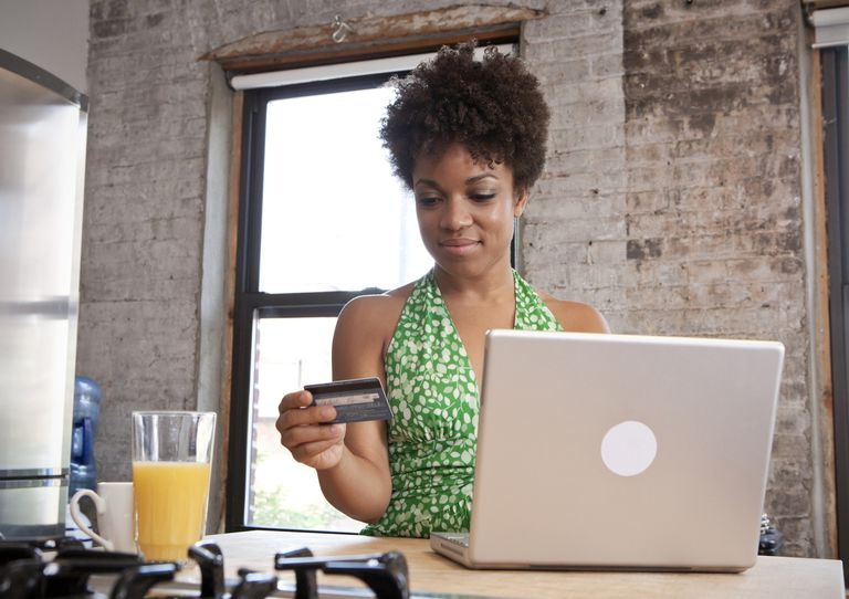A woman makes an online purchase