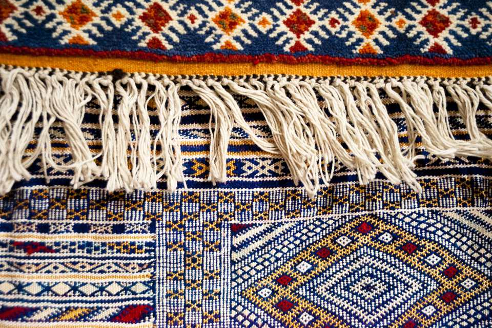 A close-up of a Morrocan rug