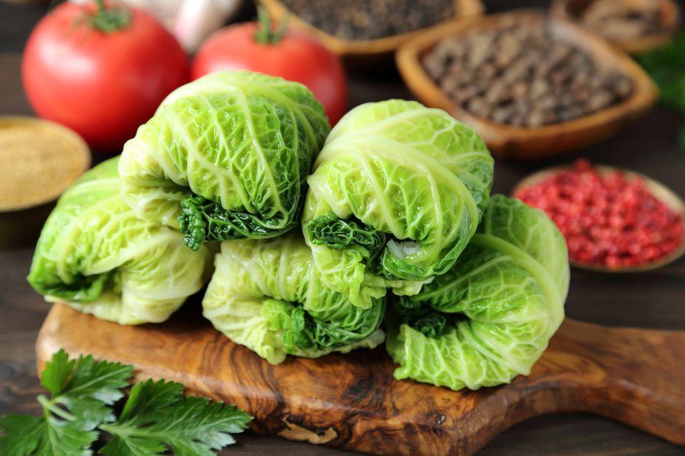 stuffed cabbage on cutting board