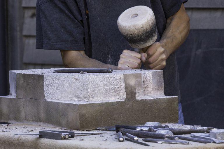 Stone mason at work
