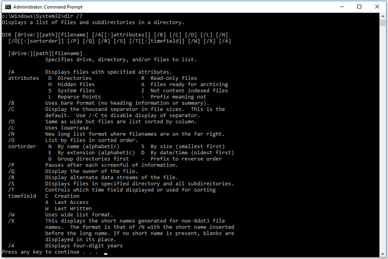 Screenshot of the dir help command in a Windows 10 Command Prompt