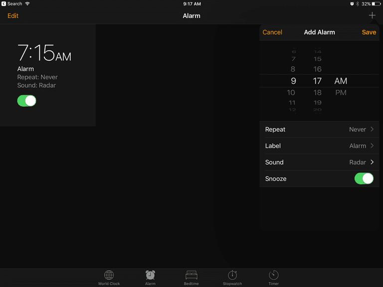Setting an alarm on the iPad