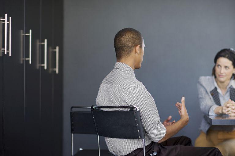 man talking in job interview