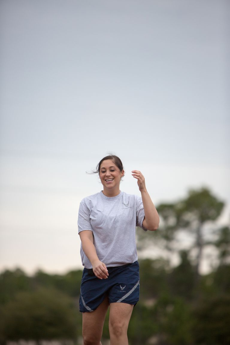 Female Airforce Soldier Wearing Jogging Clothes