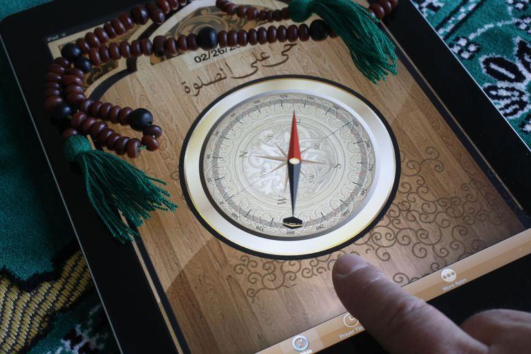 Islamic compass on a tablet