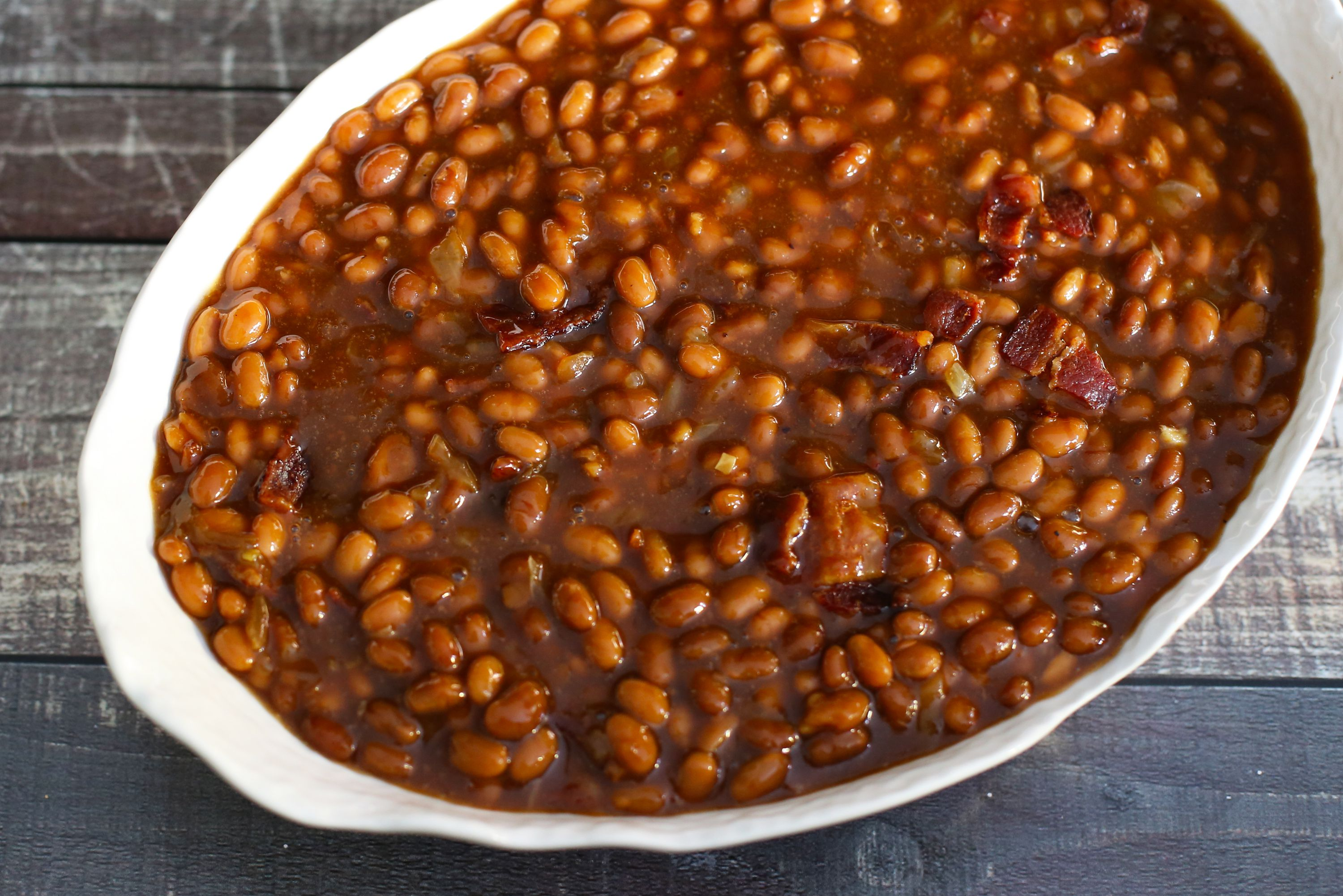 5 Ingredient Slow Cooker Beans With Bacon Recipe