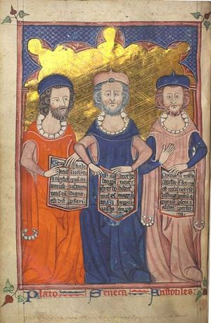 Plato, Seneca, and Aristotle -Illuminated Medieval Manuscript