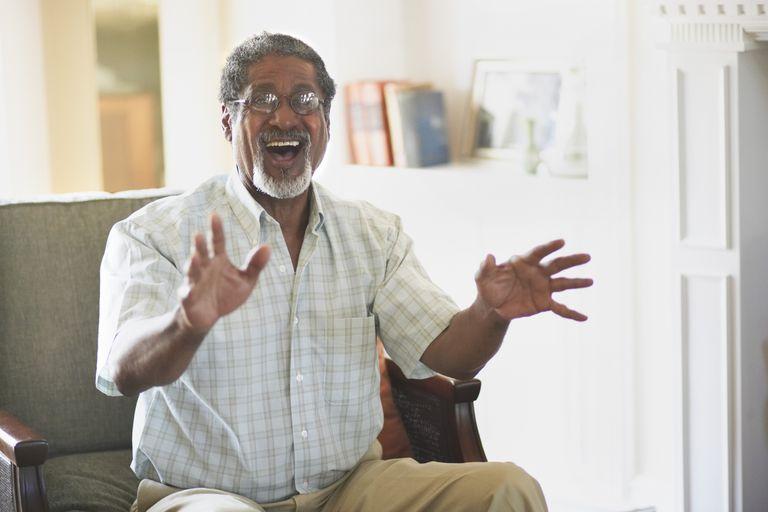Older Man Talking Animately