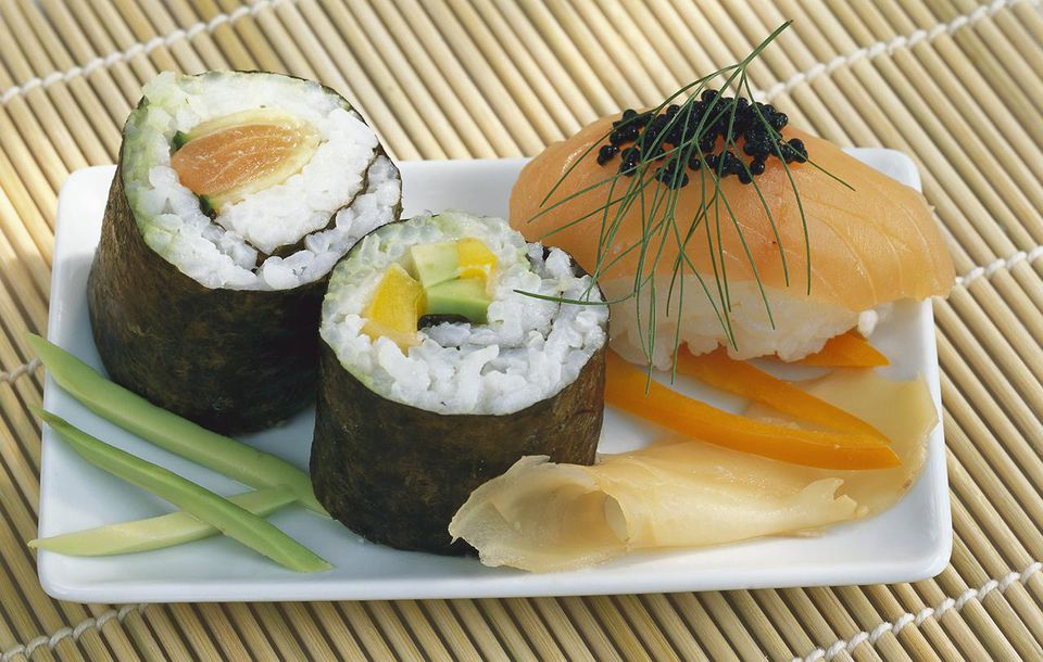 Two Maki-Sushi and one Nigiri-Sushi on plate
