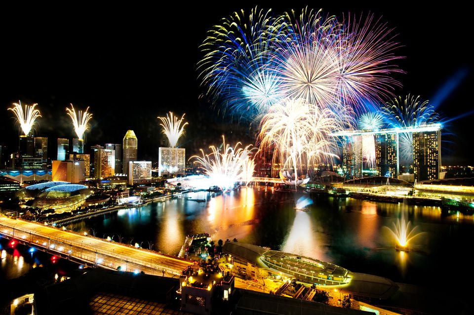 Firecrackers over Marina Bay, Singapore