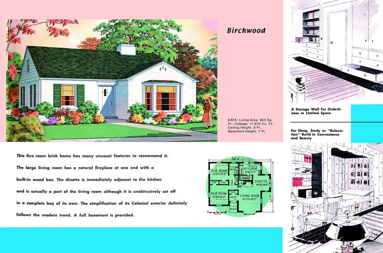 1950s floor plan and rendering of minimal traditional modern style house called birchwood - 1950s Modern House Floor Plans