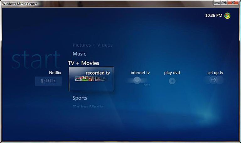 netflix windows media center