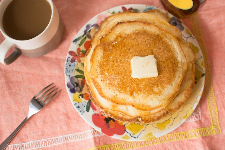 Breakfast with coffee and pancakes