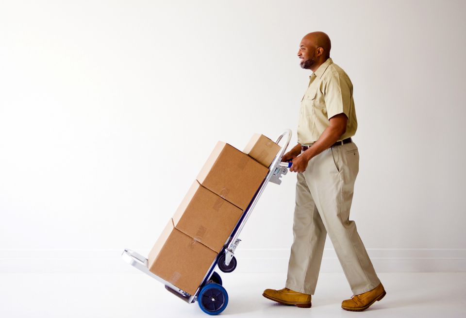 Moving moving boxes with a cart
