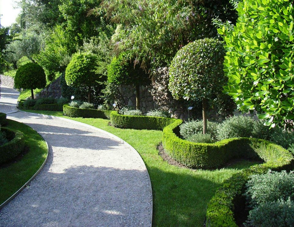 Curved Footpath In Formal Garden