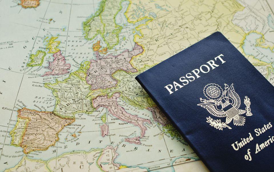 US Passport and Map