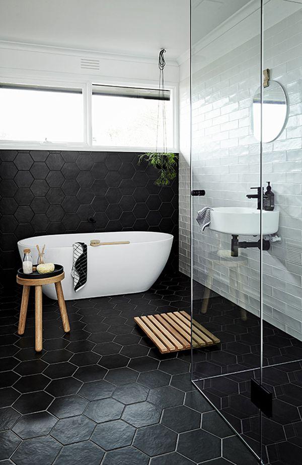 Interior Black Bathrooms 17 beautiful black bathrooms bathroom with hex tiles