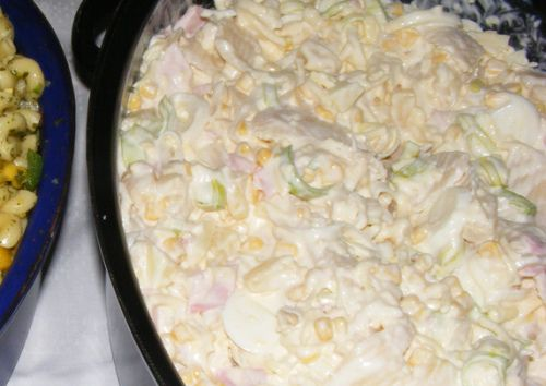 German pasta salad with bologna and cheese