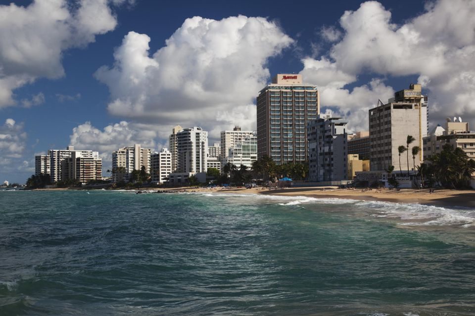 Puerto Rico, San Juan, Condado, Condado Beach high rise buildings