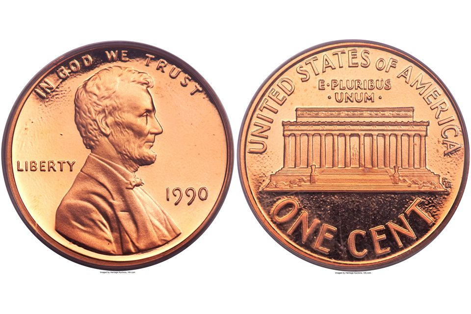 1990 proof Lincoln cent graded PR-69