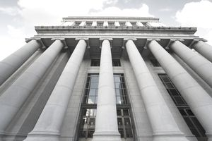 USA, California, San Francisco, Federal Reserve Bank, low angle view with wide-angle lens