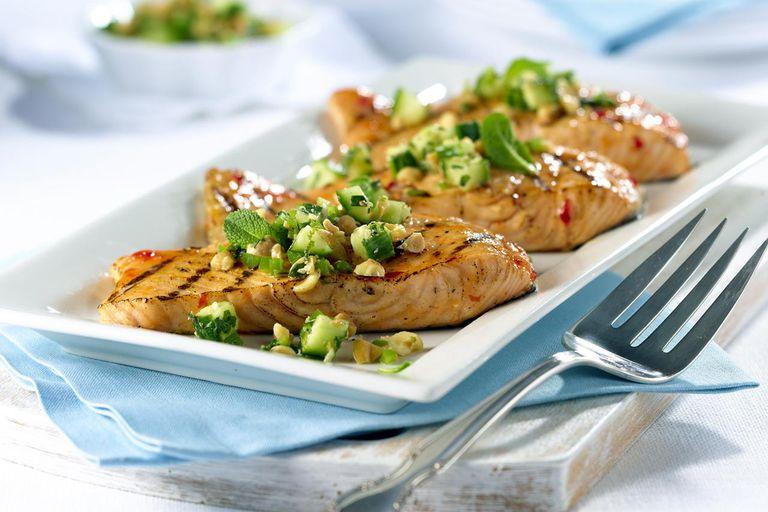plate of salmon filets