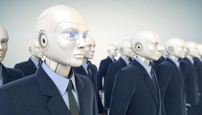 Human robots in business suits