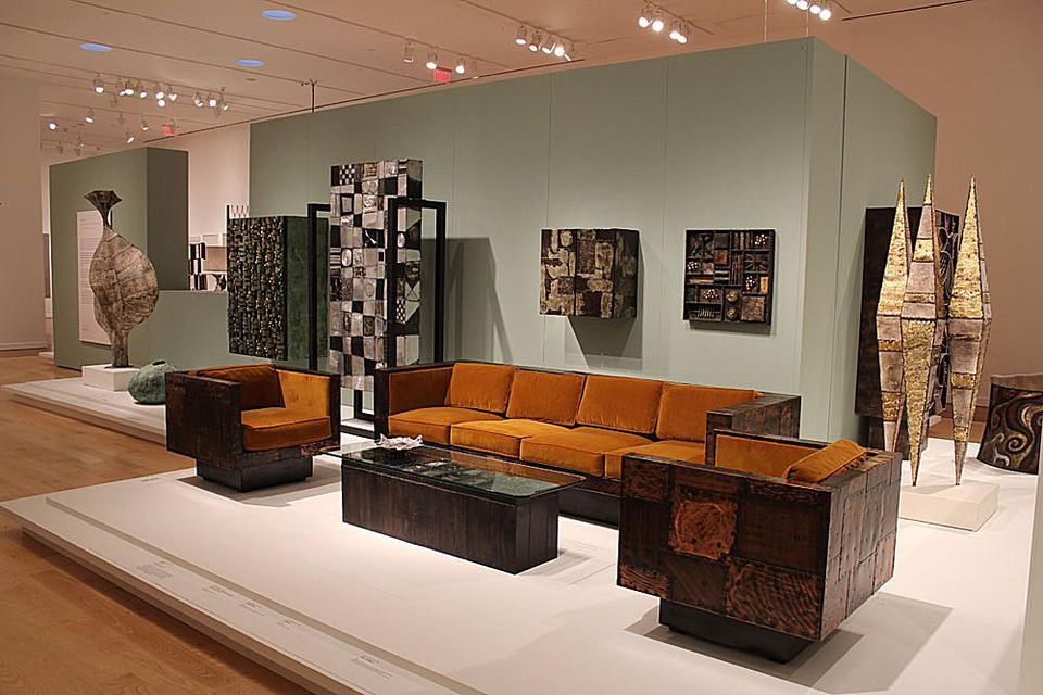 """Installation photo from """"Paul Evans: Crossing Boundaries and Crafting Modernism"""" at the Michener Art Museum"""