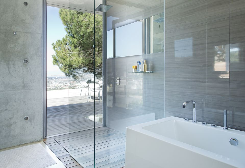 shower and bath in modern bathroom - Shower Designs