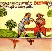 Miniatura de un mozo que le hurta el vino a su amo ciego, como hizo Lazarillo de Tormes.