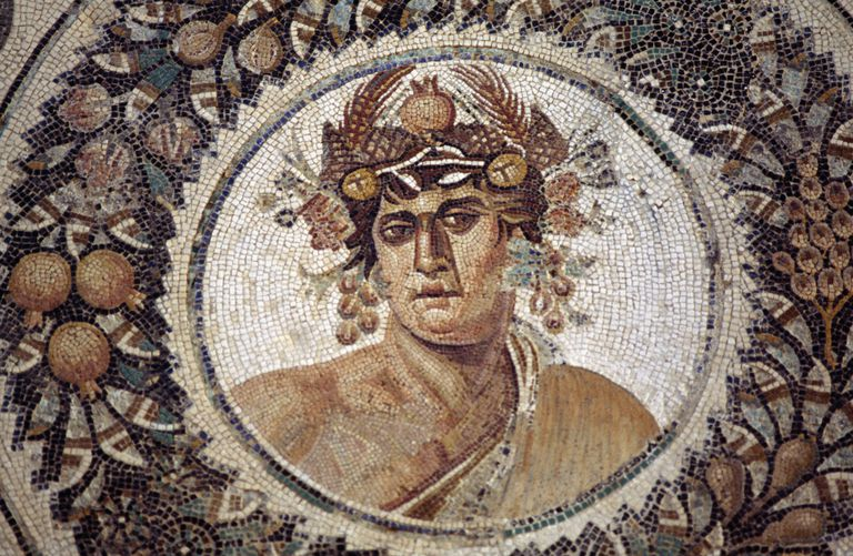 Dionysus, from genius of Year surrounded by four Seasons, mosaic from Thysdrus, El Djem, Tunisia, Roman civilization, 2nd century AD, Detail