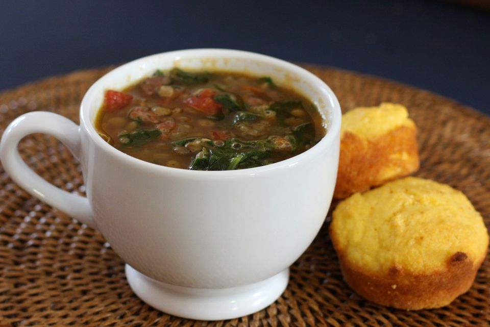 Lentil Soup With Spinach and Spicy Smoked Sausage