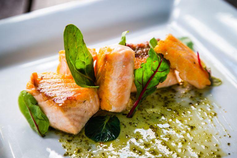 Plate of salmon and arugula