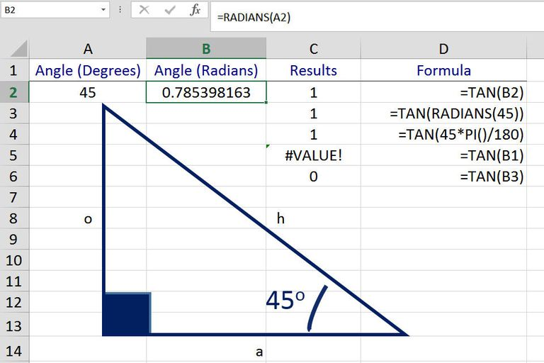 excel tan function  find the tangent of an angle